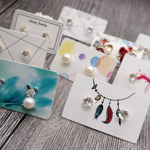 100pcs/lot Mini 3x5cm Lovely Fashion Ear Studs Display Popular DIY Jewelry Colorful White Paper Tags Cute Earrings Packing Cards