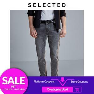 Image 1 - Geselecteerd Mannen Slim Fit Stretch Katoen Grijs Jeans Lab