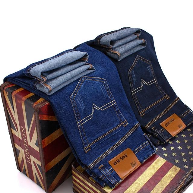 Brand 2020 New Men's Fashion Jeans Business Casual Stretch Slim Jeans Classic Trousers Denim Pants Male Black Blue 5