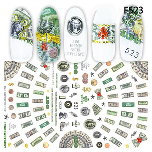 New arrived 3D Nail Stickers Decals Money Dollar Wealthy Rich Style Adhesive Stickers Nail Art Decoration Z0265(China)