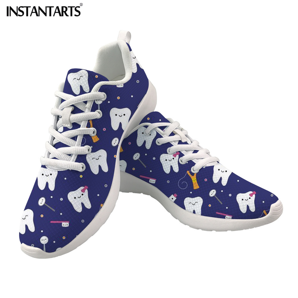 New INSTANTARTS Ladies Spring Casual Shoes Dentist Printed Lace-Up Mesh Women Sneakers Lightweight Breathable Walking Shoes for Girl