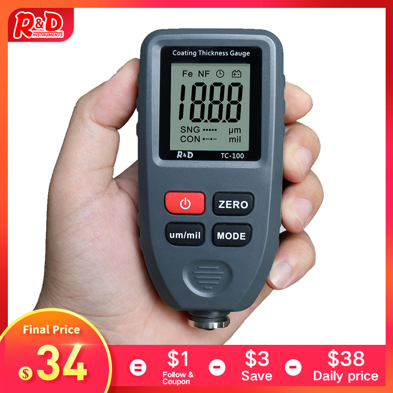 R&D TC100 Automobile Thickness Gauge Car Paint Tester Thickness Coating Meter Russia Manual Ultra-precise 0.1micron/0-1300 Fe&NF