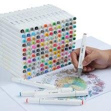 Touchfive 30/60/80/168 cores marcadores da arte álcool Oleosa marcador para desenhar mangá Escova caneta Animação projeto Da Arte Suprimentos Marcador