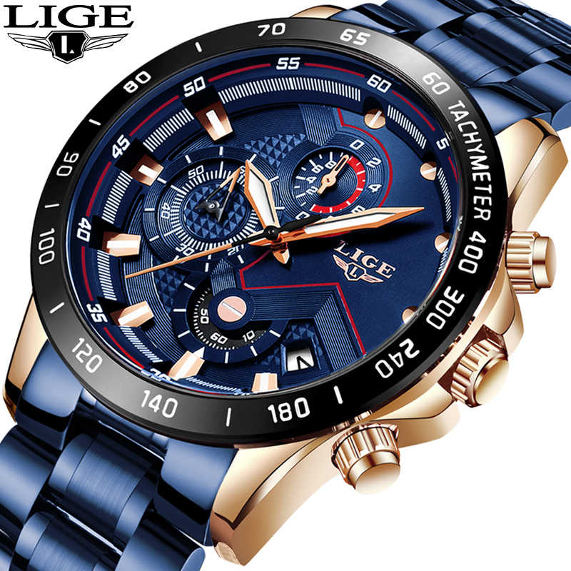 Relojes de moda para hombre, reloj de lujo de marca LIGE, reloj de cuarzo militar de acero completo resistente al agua, reloj Masculino + caja