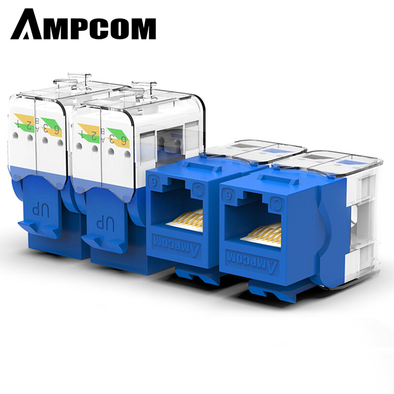 AMPCOM 10-Pack Keystone Jack,  CAT6 Tool-Less RJ45 UTP Keystone Jack, No Punch-Down Tool Required Module Coupler - Blue