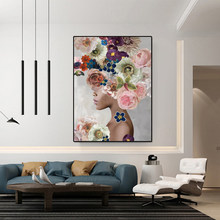 Modern Luxury Beautiful Flower Woman Nordic Canvas Painting Posters Prints Wall Pictures for Living Room Bedroom Decor Poster