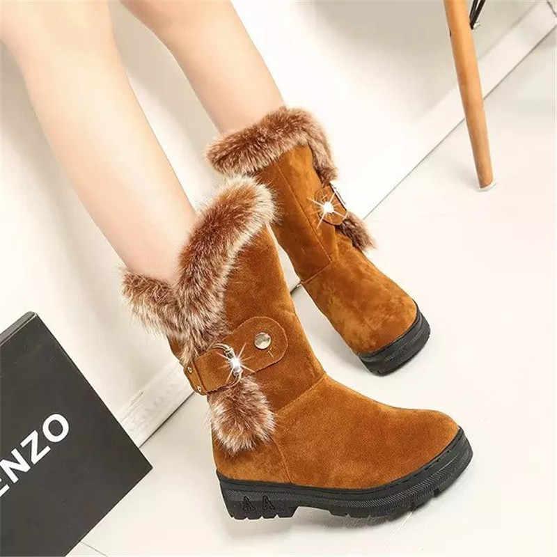 ผู้หญิงฤดูหนาวใหม่รองเท้าสบายๆ Warm Fur กลางลูกวัวรองเท้าบูทรองเท้าผู้หญิง Slip-On แฟลตรอบ Toe แฟลตหิมะรองเท้า Muje Plus ขนาด 35-41