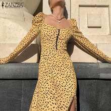 Womens Fashion Elegant Midi Dress 2021 Spring French Femme ZANZEA Retro Floral Print Vestido Party Casual Square Collar Dresses