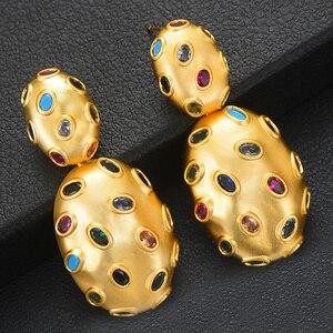 Image 3 - Godki 2019 Trendy Charms Dubai Verklaring Earring Ring Sieraden Sets Voor Vrouwen Goud Zirconia Oorbellen Bruiloft Sieraden Set