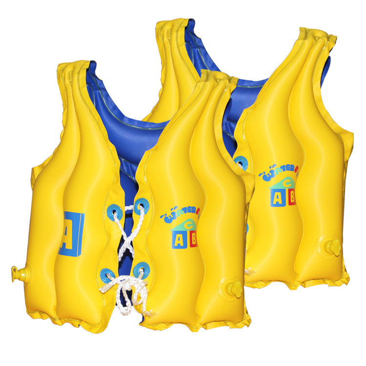 Cross Border For Boxed Children Solid Color 3 Air Bag Thick Buoyancy Swimming Waistcoat Shadow Children Inflatable Swimsuit