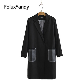 Fashion Long Blazer Women Casual Coats Black Outerwear Plus Size Long Sleeve European Blazer Jacket KKFY4819 2020 new fashion bandage jacket women long sleeve outerwear coats button zipper black celebrity party short jacket women