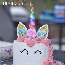 MEIDDING Unicorn Horn Cake Topper Party Decor Birthday Kids Baby Shower