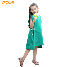 VFOCHI New Girl Dresses Summer Sleeveless Girls Clothes Baby Kids for 2-10Y Solid Color Green Elegant