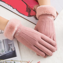 Womens Winter Gloves Warm Plush Mittens Wrist Mittens Driving Ski Gloves Full Finger Winter Women Elegant Gloves #5$(China)