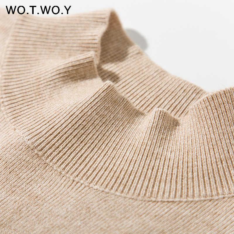 WOTWOY 가을 겨울 솔리드 캐시미어 스웨터 여성 니트 긴 소매 터틀넥 스웨터 여성 슬림 맞는 기본 풀오버 2020