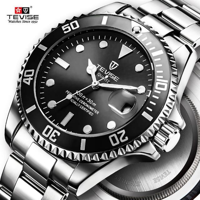 Hot 2019 New Tevise Men Quartz Watch Automatic Date Sport Watches Fashion Luxury Famous design Male Clock Relogio Masculino