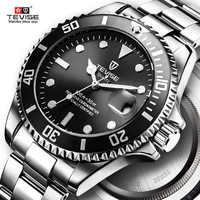 Quente 2019 nova tevise men relógio de quartzo automático data esporte relógios moda luxo design famoso masculino relógio relogio masculino