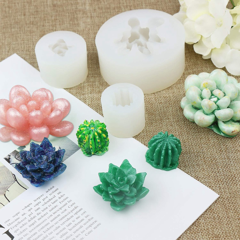 3 Pack Succulent Resin Molds  Cactus Epoxy Resin Silicone Molds  Flower Resin Casting Molds for Handmade Candle  Resin Crafts DI|Figurines & Miniatures| |  - title=