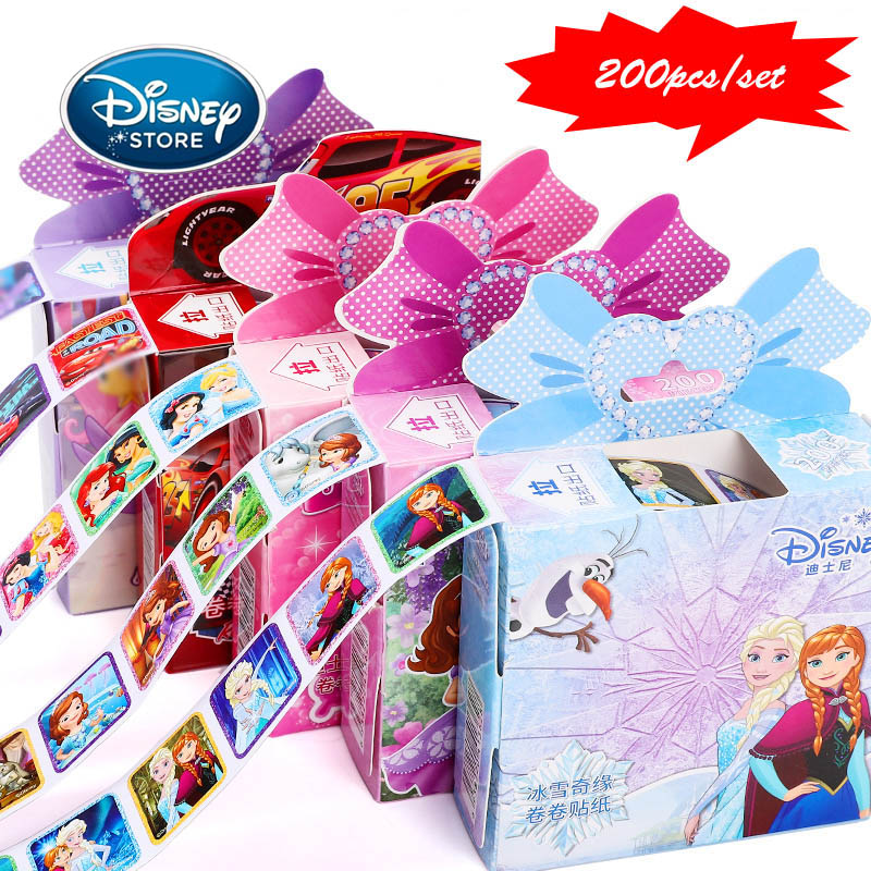 Disney 200pcs/1box Frozen 2 Sticker Baby Girl Toys Cartoon Mickey Elsa Sophie Lightning McQueen Sticker Suitcase Child Gifts