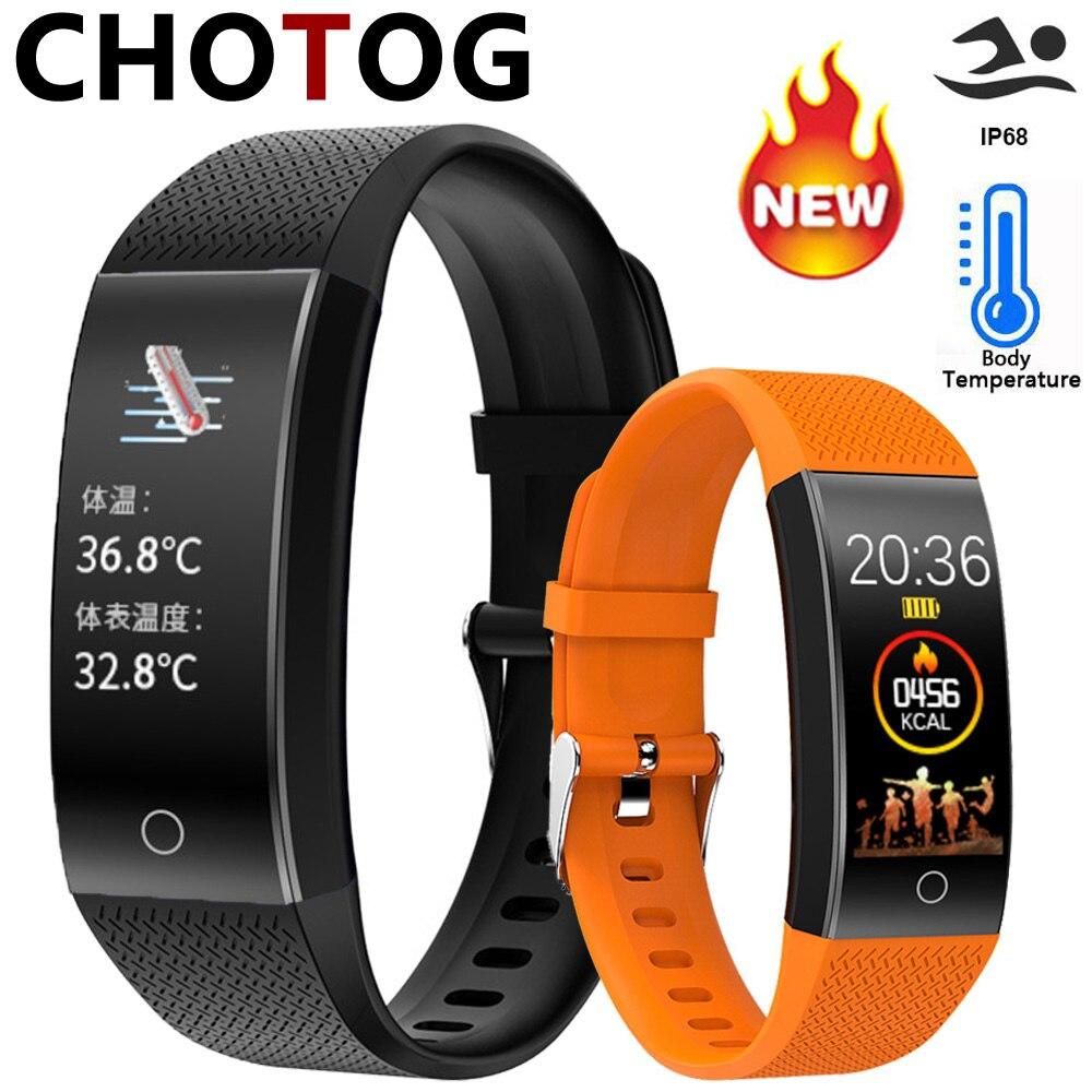 Smart Band Body Temperature Watch Fitness Tracker Bracelet IP68 Waterproof For Sport Pedometer Fitness Bracelet Blood Pressure(China)