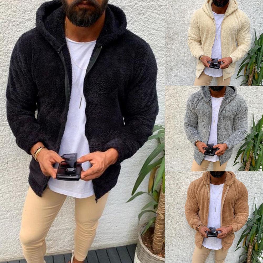 Men Autumn Winter Solid Color Long Sleeve Zipper Plush Hoodie Warm Jacket Coat Warm Keeping Zipper Closure Hooded Design Autumn