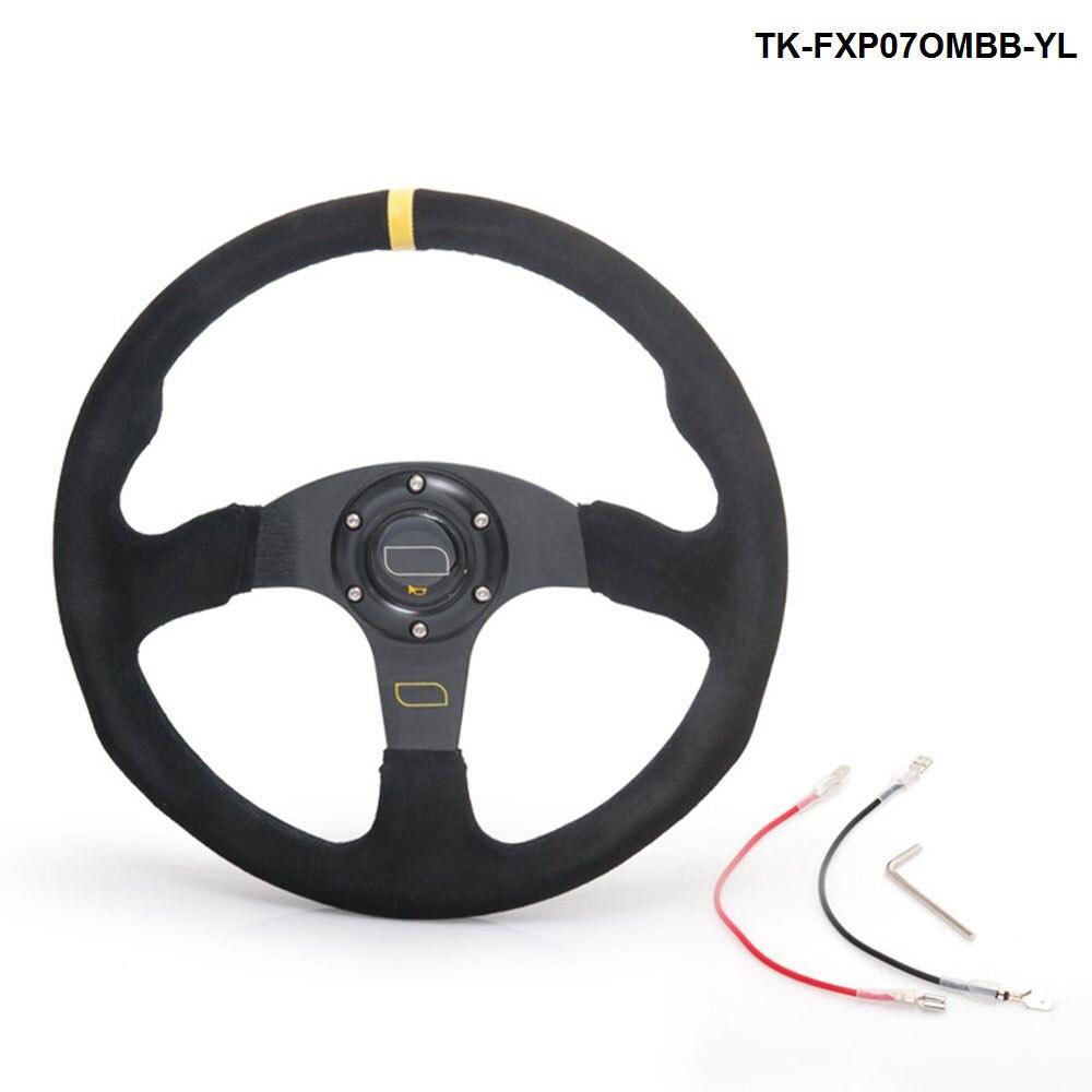 14 بوصة 350 مللي متر OM سباق عجلة القيادة السيارات عجلة القيادة جلد الغزال عجلة القيادة TK-FXP07OMBB-YL