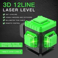 3d 녹색 레이저 레벨 12 라인 셀프 레벨링 360 degre 수평 및 수직 크로스 라인 상단 벽 프레임이있는 녹색 레이저 라인