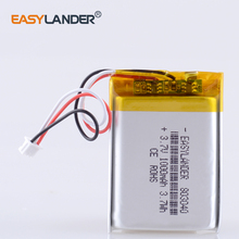 3.7V 1000mAh 803040 Lithium Polymer LiPo Rechargeable battery with JST 1.25mm 3pin For Mp3 DVD PAD smart watch camera recorder s