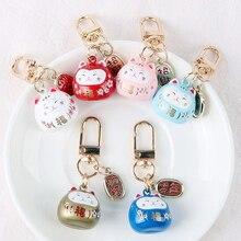 Japanese Cute Lucky Cat KeyChains Car Keys Bag Key Chains Maneki Neko Trinkets Bag Charm Pendant Keyfob Couple Gift