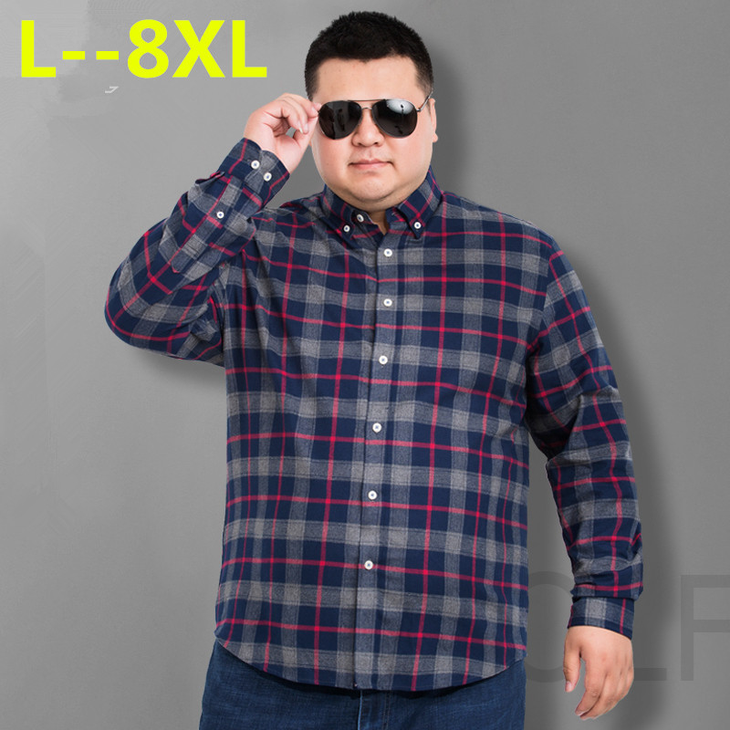 8XL 6XL Men's Shirts Tops Men Plaid Shirt Oxford Casual Men's Shirts With Long Sleeves Slim Fit Camisa Social 5XL 6XL Big Size