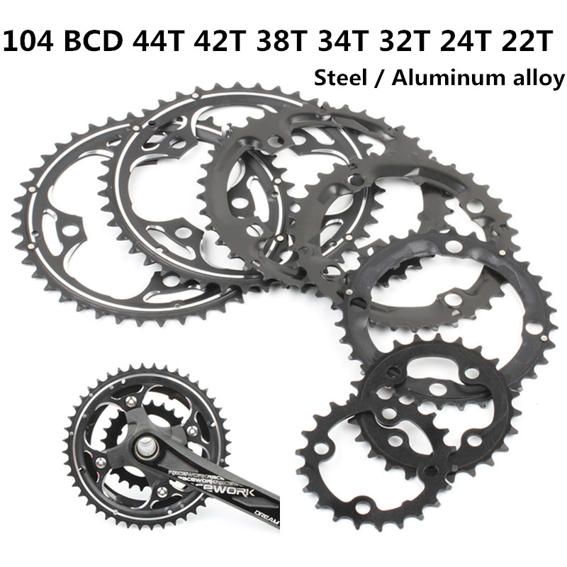 Round Chainring MTB Mountain bike bicycle 104BCD 22T 24T 32T 34T 38T 42T 44T crankset steel aluminum alloy Tooth plate Parts