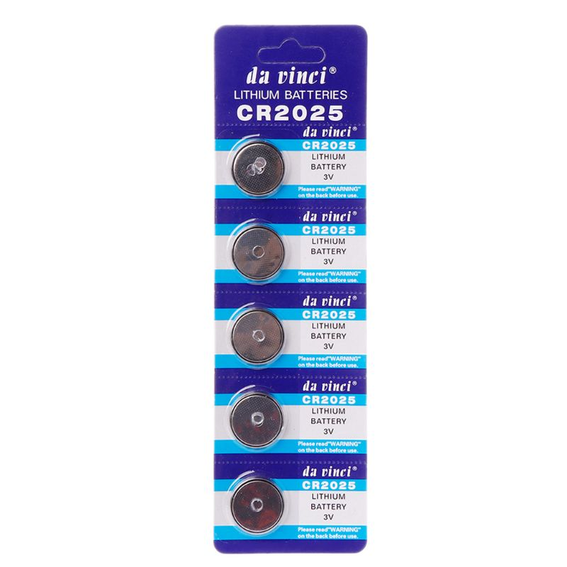 5PCS 5PCS Lithium Battery CR2025 3V Cell Coin Batteries DL2025 BR2025 KCR2025 CR 2025 Car Key Button Watch Computer Electronic