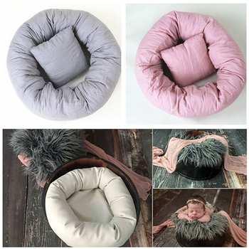 Одеяло для фотосъемки новорожденных детей с искусственным мехом реквизит для фотосъемки новорожденных фон корзина наполнитель аксессуары