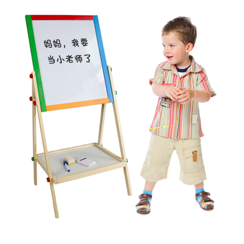 90cm Adjustable Double-Sided Sketchpad Young CHILDREN'S Drawing Board Blackboard Whiteboard Wooden Drawing Board Manufacturers D