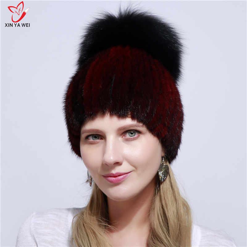 2019 Nova Moda Chapéu De Pele Verdadeira Pele De Vison Chapéu do Inverno de Alta Qualidade Chapéu de Vison Fêmea Inverno Acessórios Bola de Pele de Raposa chapéu morno.