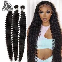 28 30 32 40 pulgadas suelta la onda profunda mechones 100% extensiones de cabello humano 1 3 4 mechones de cabello brasileño extensiones con ondas al agua mechones Remy