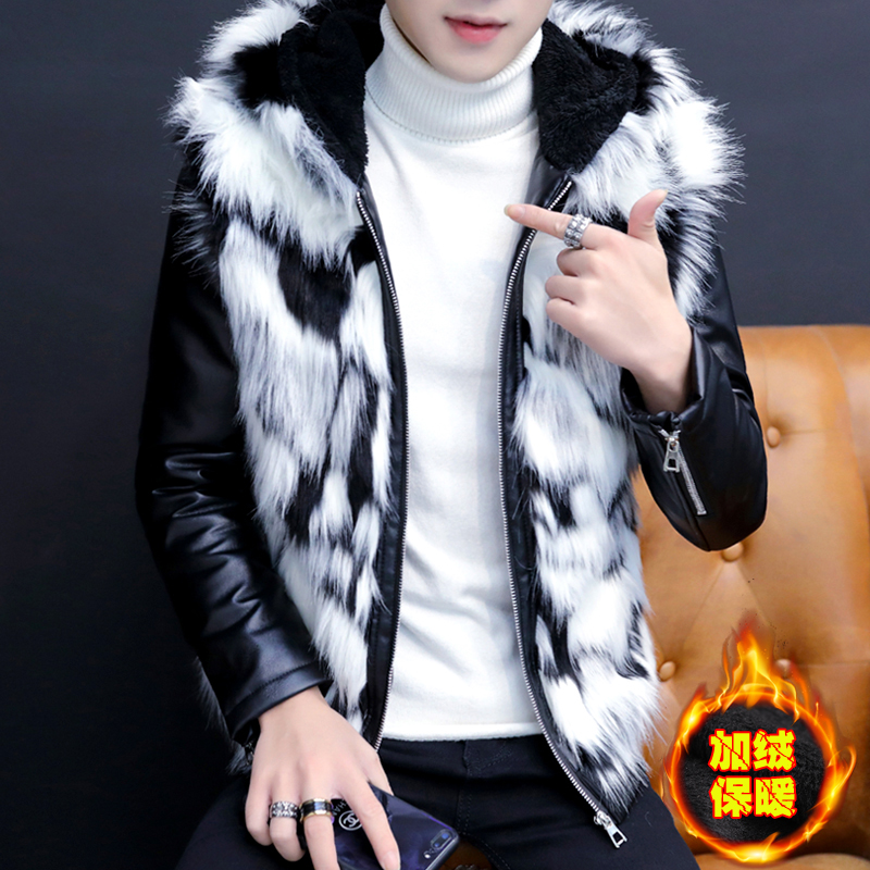 2019 Men Imitation Fur One Personality Handsome Leather Hooded Youth Winter With Velvet With Thick Leather Jacket