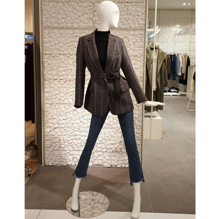 2020 Korean Spring Autumn Chic Gingham Plaid Blazer With Belt Vintage Women Long sleeve Mid Long Suit Office Lady Coat outwear