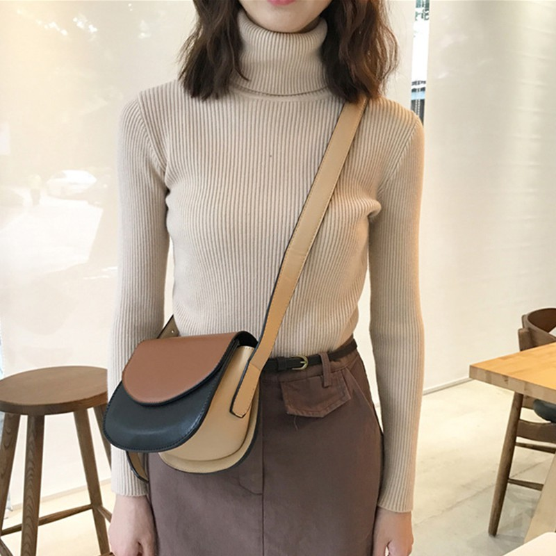Wholesale Autumn Fall Women Sweater Slim Soft Long Sleeve High Neck Knit Pullover Sexy Slim Stretch Turtleneck Black Sweaters 4