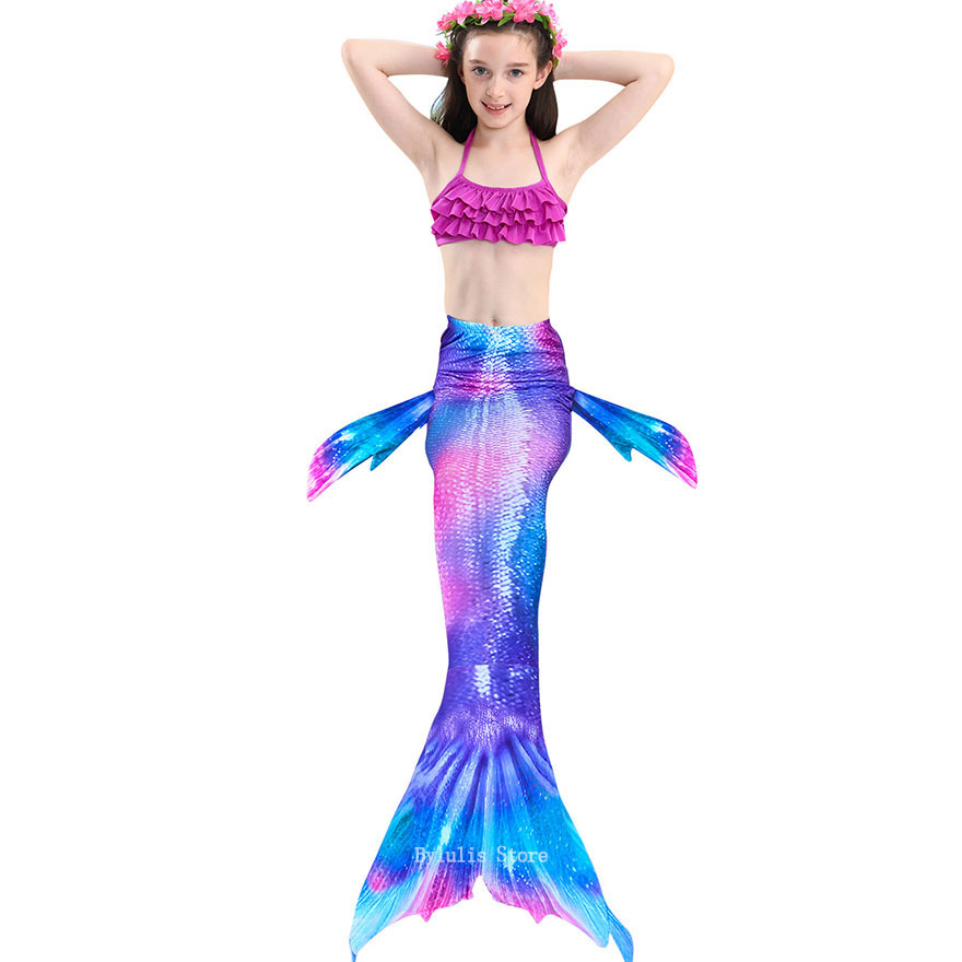 H61be8c54e66040b2a2fbbba8ea50bcf4Q - Kids Swimmable Mermaid Tail for Girls Swimming Bating Suit Mermaid Costume Swimsuit can add Monofin Fin Goggle with Garland