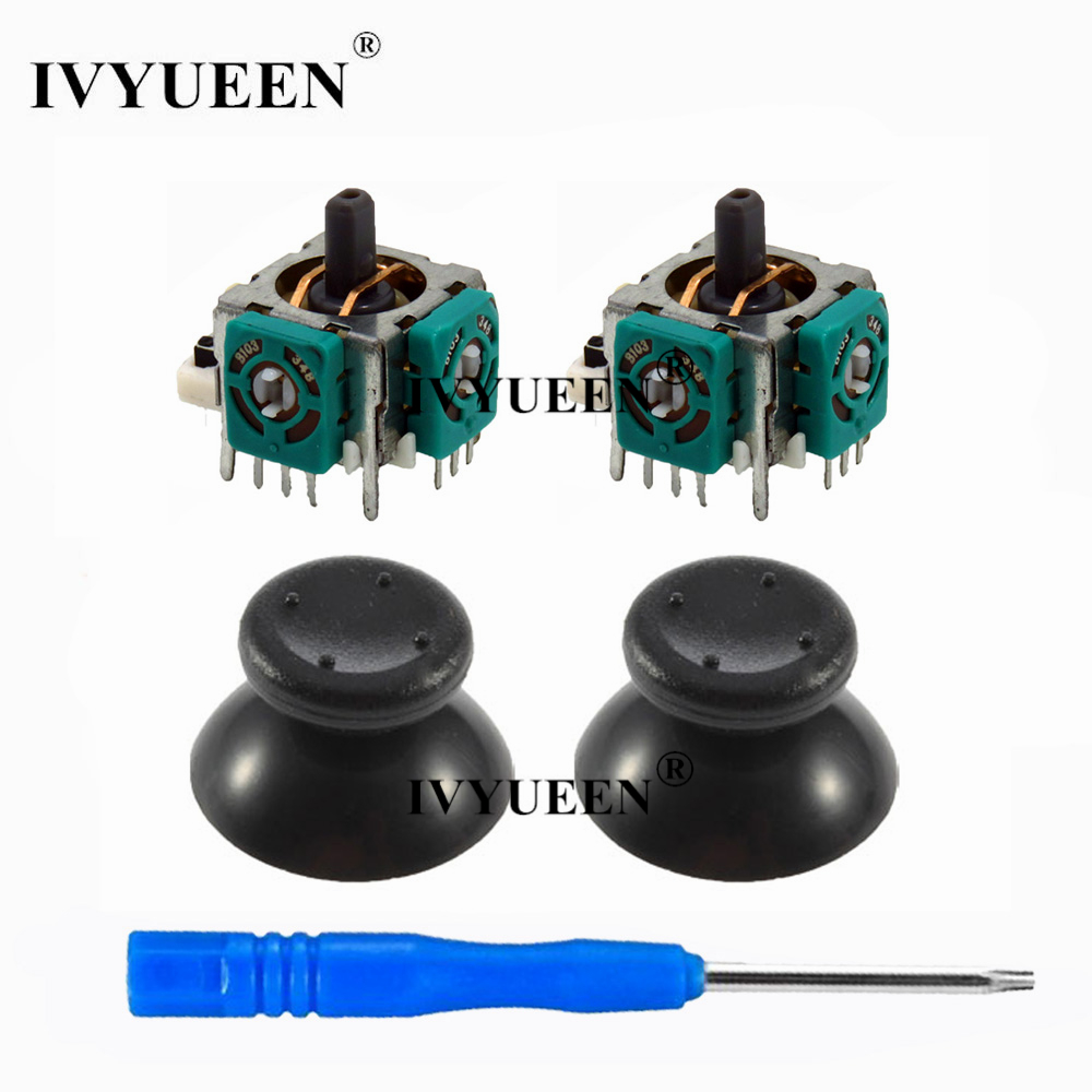 IVYUEEN 2 X 3d Analog Stick Sensor Potentiometers + 2 X Thumb Sticks Cap Cover For Microsoft Xbox 360 Controller Repair Parts