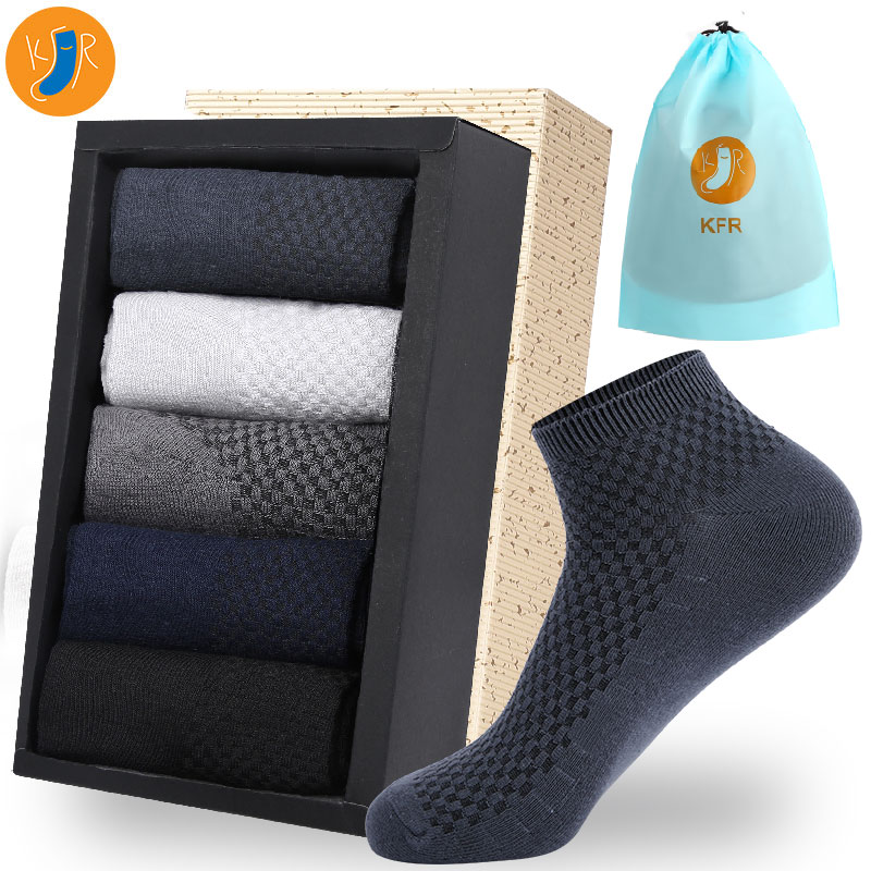10Pairs/Lot Bamboo Fiber Men Socks Casual Business Anti-Bacterial Deodorant Breatheable Man Short Long Sock EUR39-45 With Bag