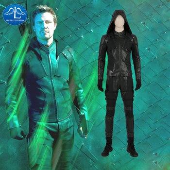 Manluyunxiao Green Arrow Cosplay Oliver Queen Blackish Suit Halloween Costume Men DC Justice League Leather Coordinates