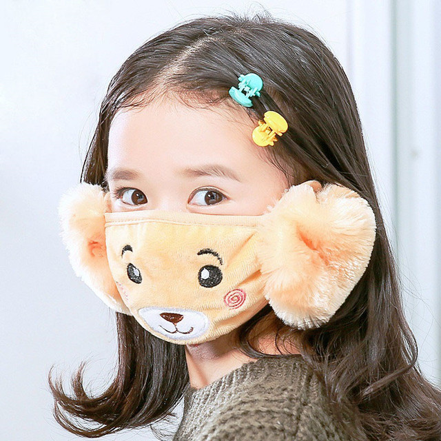 Mother Kids Cute Bear Ear Protective Face Mask Windproof Mouth-muffle Anti Dust Masks Children Anti Haze Flu Cotton Moiuth Masks