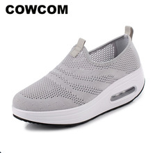 COWCOM Drop Sale  Spring Cushion Thick Bottom Flying Weaving Hollow Breathable  Leisure Sports WADDLE Shoes Female Hair CYL 2008