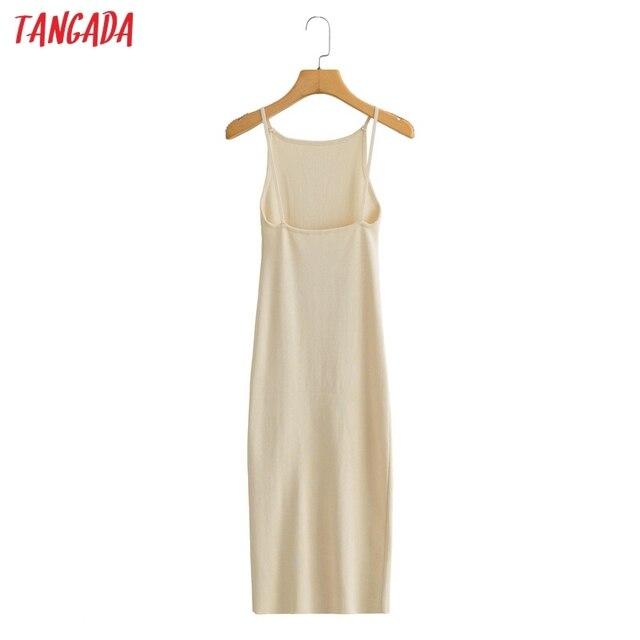 Tangada 2021 Fashion Women Solid Beige Black Backless Sweater Dress Sleeveless O Neck Ladies Midi Dress AI73 5
