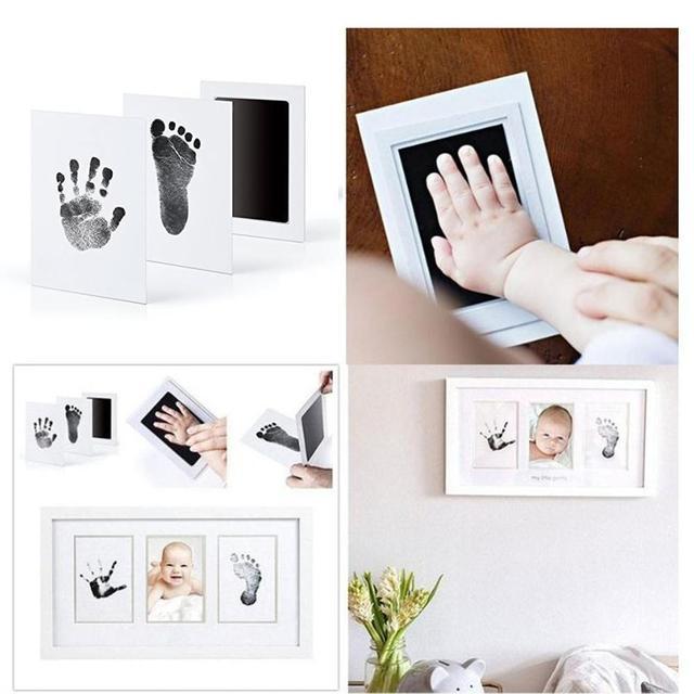 As pegadas não tóxicas seguras do bebê handprint nenhuma pele do toque inkless tinta almofadas kits para 0-6 meses recém-nascidos do cão de estimação pata imprime lembrança 2