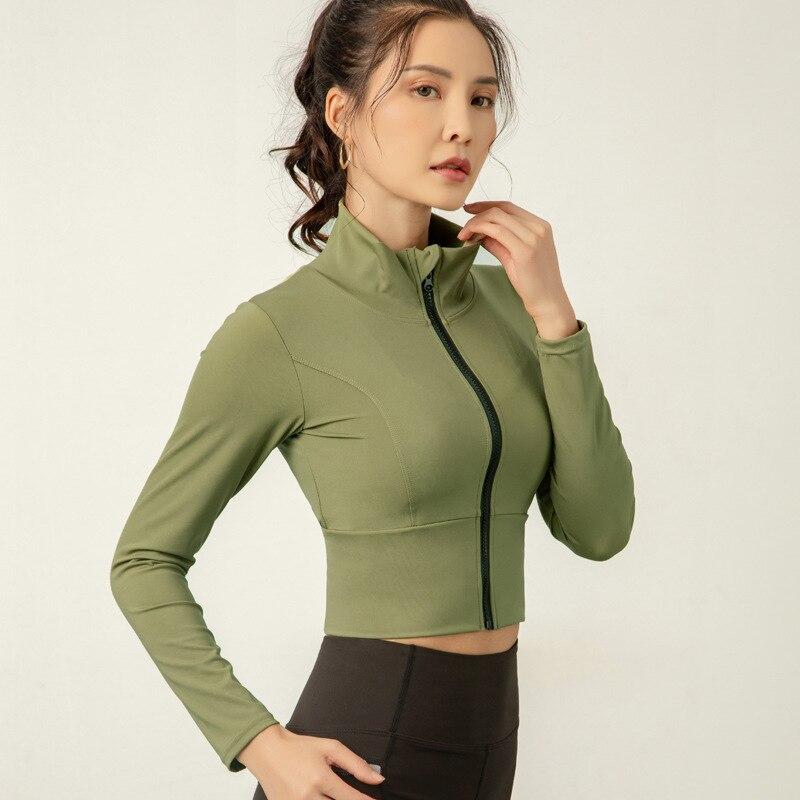 Куртка женская для бега с длинным рукавом на молнии рубашка