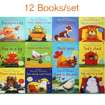 12Books for 1 Set Kids Usborne Story Picture Books Phonics Readers Famous English Book Children Educational 21x21CM