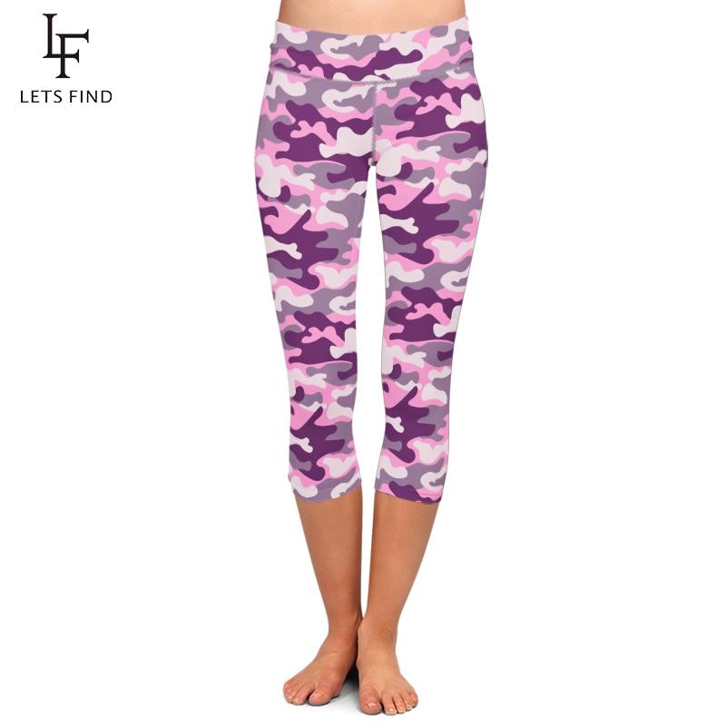 LETSFIND Summer Plus Size Pink Camouflage Digital Printing Capri Leggings High Waist Plus Size Fitness Soft Women Leggings